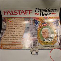 """Falstaff President Beer"" Poster; 1896 P, 97 P, 98 P, & 1900 P U.S. Barber Quarters, AG-G."