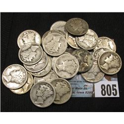 (24) Mercury Dimes all dating in the Roaring Twenties, circulated.