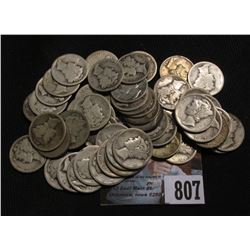 (50) Mercury Dimes all dating in the Roaring Twenties, circulated.
