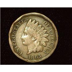 1863 Copper-nickel Indian Head Cent, VG. Rim damage.