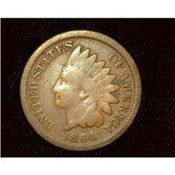 1864 Bronze Indian Head Cent, Good.