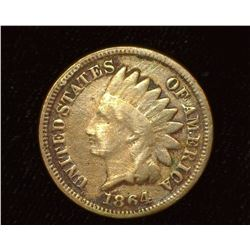 1864 Copper-nickel Indian Head Cent, Good.