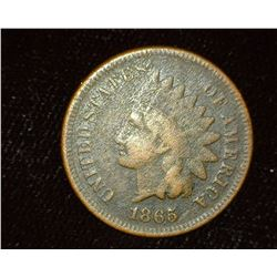 1865 Indian Head Cent, Very Good with slight porosity.