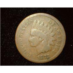 1875 Indian Head Cent, AG/Good.