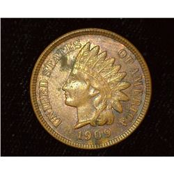 1909 Indian Head Cent, Red-Brown AU-Unc.