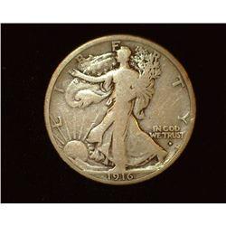 1916 Obverse D Walking Liberty Half-Dollar, G-VG.