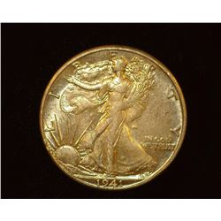 1941 D Walking Liberty Half-Dollar, AU.