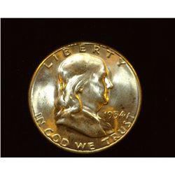1954 S Franklin Half Dollar, BU.