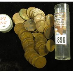 More than fifty 1910 P Lincoln Cents in a plastic tube, grades average VG.