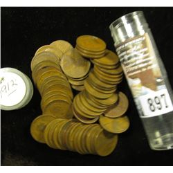More than fifty 1912 P Lincoln Cents in a plastic tube, grades average VG.