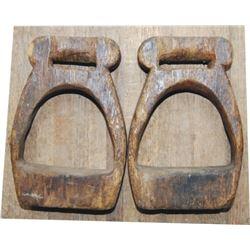 old wooden stirrups