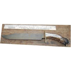 "stag handle 9 1/2"" blade bowie knife"