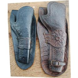 2 holsters - 7 1/2  unmarked Hibbard, Barlette, Spencer, San Fran vaquero tooled single loop