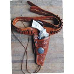 S&W .44 special 2nd model nickel  pistol marked 101 Ranch, & Oliver, Vernon TX gun rig