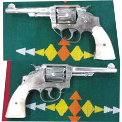 S&W pistol model 1905 hand eject .38 nickel plated w/pearl grips, marked El Paso, TX