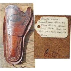 T Flynn border tooled holster w/documentation, from MGM studion prop room, 50s