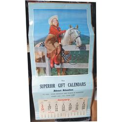 large 1955 colorful cowgirl calendar