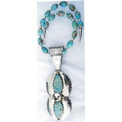 Laura Dobbs Navajo silver and turquoise necklace
