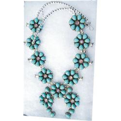 nice Navajo amethyst & turquoise squash blossom