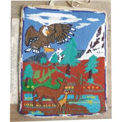pictorial beaded bag, 121/2x 15 , early hand stitched