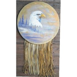 Cameron Blagg eagle oil painting on leather