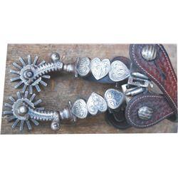 Vogt heart pattern silver overlaid spurs