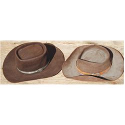 2 Western hats with silver hat bands, lots of character