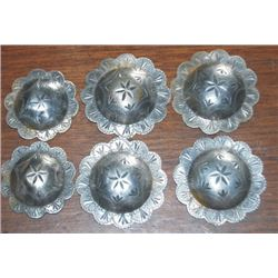 6 silver conchos, 1 3/4  and 1 1/2 , no loop on backs