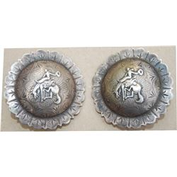 Keyston Bros loop back bucking horse conchos