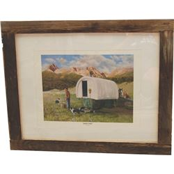 barn wood framed Dyck Godby print, Sheep Camp