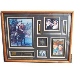 John Wayne barn wood framed collage