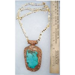 1800s large turquoise pendent mounted