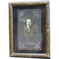 Original Tom Horn photo 3 1/2  x 5 1/2  on old brown frame