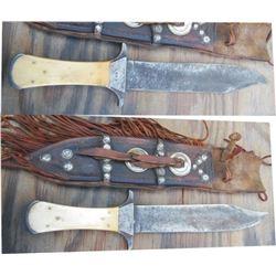 """14"""" bone handle knife dated 1849"""