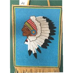 Warm Springs pictorial bag, Indian Chief, trade cloth on inside