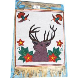 pictorial beaded bag with deer & hummingbirds