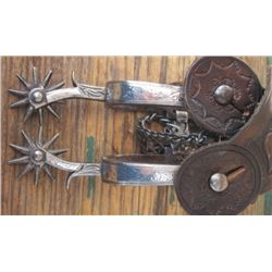 Buermann silver inlaid Calif style spurs