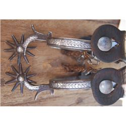 circa 1900-1920 Calif silver inlaid spurs, probably unmarked Hernandez