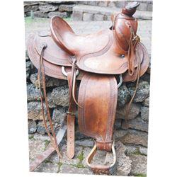 Lawrence bordered tooled saddle, 1930-40's