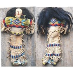 Crow beaded scalp lock doll