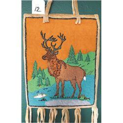 Yakima pictorial beaded bag, Elk,