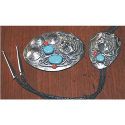 Navajo silver & turquoise & coral buckle & bolo set with horseheads & buffalo nickels