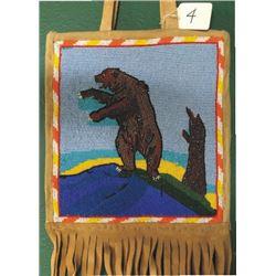 Warm Springs beaded pictorial bag, standing bear, 50-60's