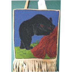 Yakima 1940's pictorial beaded bag, bear & tree