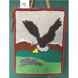 beaded pictorial bag, eagle & rabbit, cloth back