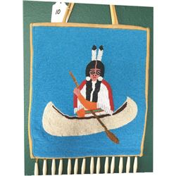 beaded pictorial bag, squaw in canoe