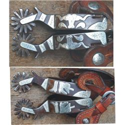 D Pollard double mounted longhorn, boots and hat pattern spurs #495