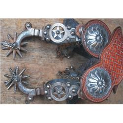 E Garcia nice Calif style silver inlaid spurs