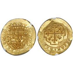 Mexico City, Mexico, cob 8 escudos, 1713, mintmark oXM, assayer J, encapsulated NGC MS 66, from the