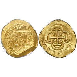Mexico City, Mexico, cob 8 escudos, 1714J, encapsulated NGC MS 64, from the 1715 Fleet (stated in sl